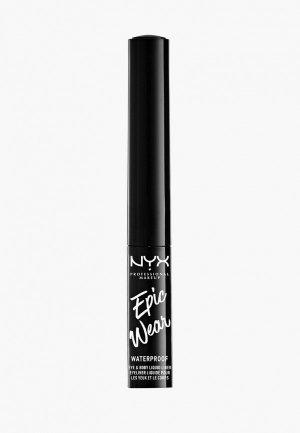 Подводка для глаз Nyx Professional Makeup металлический EPIC WEAR METALLIC LIQUID LINER, оттенок 01, BLACK METAL, 3,5 мл. Цвет: черный