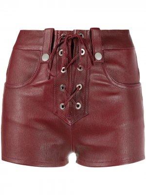 Кожаные шорты Alys Manokhi. Цвет: красный