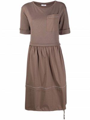 Ярусное платье с короткими рукавами Peserico. Цвет: коричневый