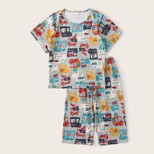 Пижама с принтом машины для мальчиков SHEIN. Цвет: многоцветный