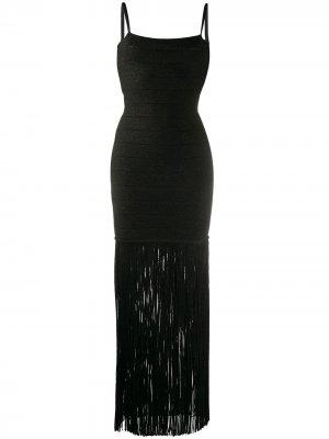 Платье с эффектом металлик и бахромой Hervé Léger. Цвет: черный