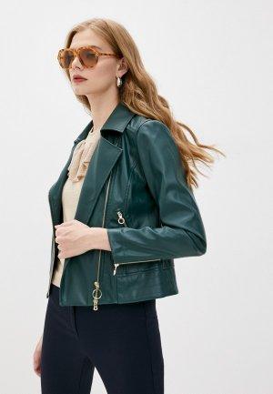 Куртка кожаная Pennyblack CASA. Цвет: зеленый