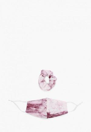 Маска для лица защитная Sela и резинка волос. Цвет: розовый