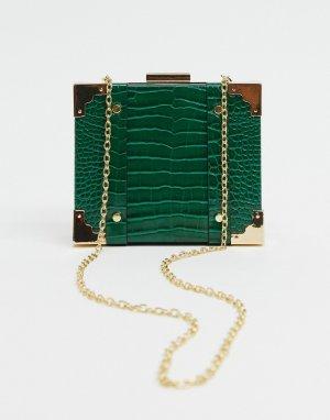 Зеленая сумка через плечо из искусственной крокодиловой кожи -Зеленый Glamorous