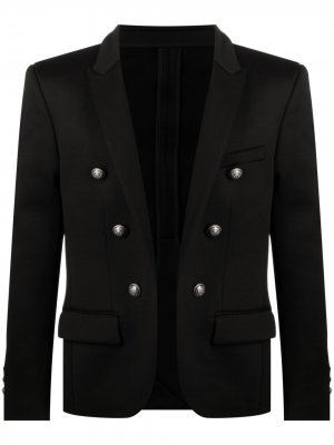 Двубортный пиджак с тиснеными пуговицами Balmain. Цвет: черный