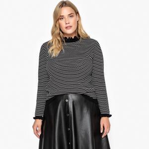 Пуловер со стоячим воротником из тонкого трикотажа CASTALUNA. Цвет: в полоску