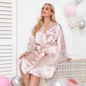 Ночная сорочка оверсайз с атласными кружевными рукавами и поясом SHEIN. Цвет: нежний розовый