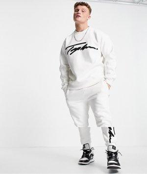 Белые джоггеры с вышитым логотипом-подписью -Белый Topman