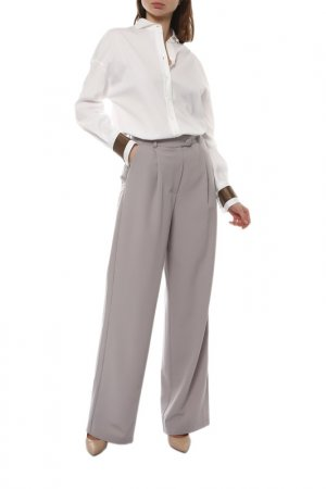 Блуза Brunello Cucinelli. Цвет: белый, коричневый
