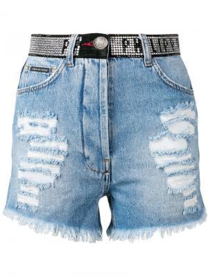 Джинсовые шорты Philipp Plein. Цвет: синий