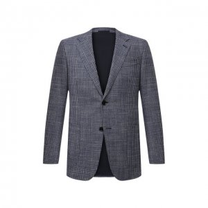 Пиджак из шерсти и шелка Ermenegildo Zegna. Цвет: синий