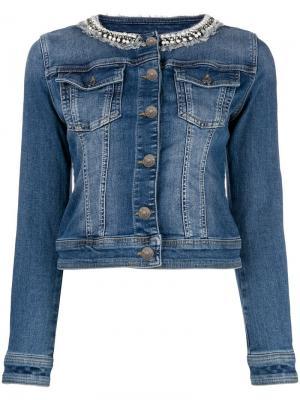 Джинсовая куртка с отделкой на воротнике Twin-Set. Цвет: синий