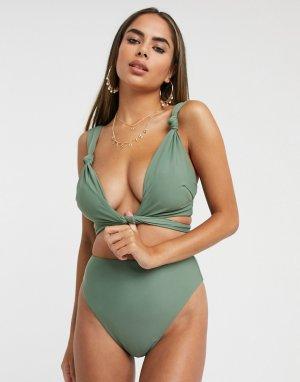 Эксклюзивный бикини-топ с узлом цвета хаки для груди большого размера fuller bust-Зеленый цвет ASOS DESIGN