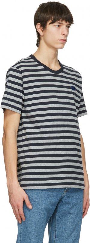 Navy & Grey Striped Nash Patch T-Shirt Acne Studios. Цвет: navy