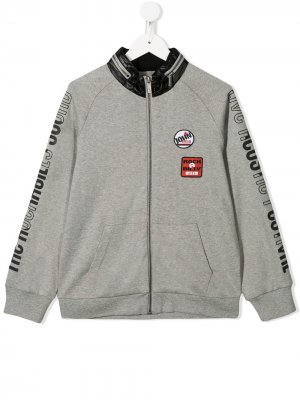 Куртка-бомбер на молнии с логотипом John Galliano Kids. Цвет: серый