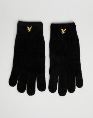 Черные перчатки в рубчик из овечьей шерсти Lyle & Scott. Цвет: черный