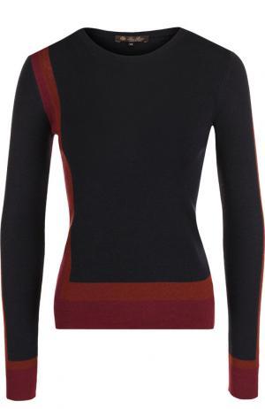 Пуловер с круглым вырезом из смеси кашемира и шелка Loro Piana. Цвет: темно-синий