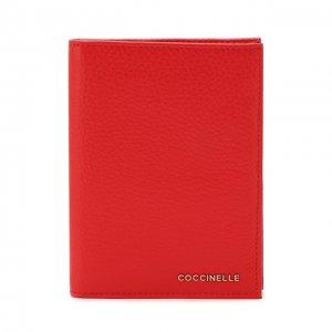Кожаная обложка для паспорта Coccinelle. Цвет: красный
