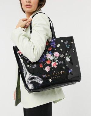 Большая черная сумка с цветочным принтом Elizcon-Черный Ted Baker