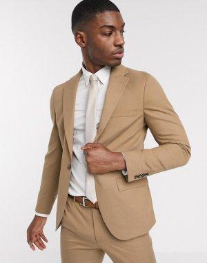 Бежевый пиджак зауженного кроя Moss London-Белый BROS