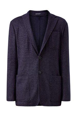Приталенный блейзер из шерсти и хлопка с накладными карманами CANALI. Цвет: синий