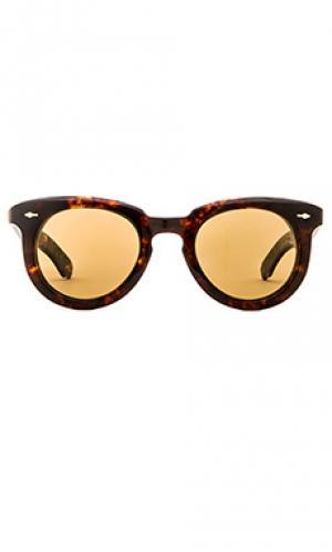 Солнцезащитные очки с золотым покрытием 10 к дужек и оправы fontainebleau Jacques Marie Mage. Цвет: коричневый