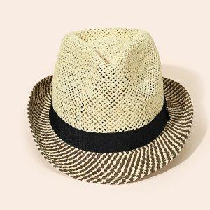 Соломенная шляпа контрастный SHEIN. Цвет: многоцветный