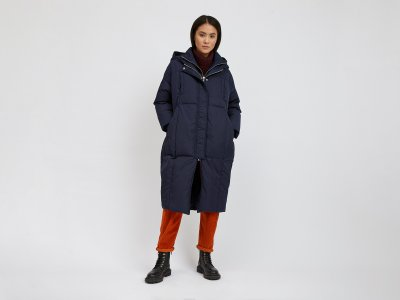 Куртка-пуховик с капюшоном Benetton. Цвет: синий