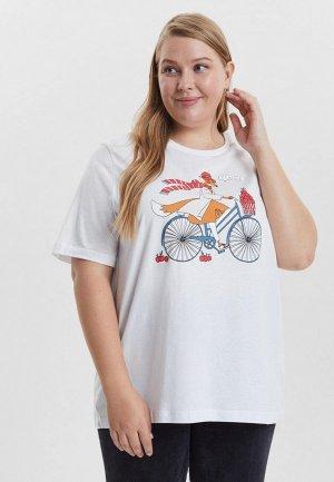 Футболка Barmariska Лиса на велосипеде. Цвет: белый