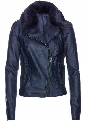 Куртка из искусственной кожи bonprix. Цвет: синий