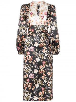 Платье миди с цветочным принтом и контрастной вставкой byTiMo. Цвет: черный