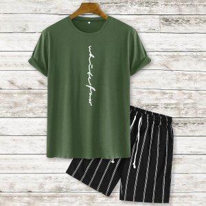 На кулиске с карманами буква Полосатый Повседневный Мужской Комплект из двух предметов SHEIN. Цвет: армейский зеленый