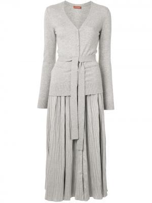 Многослойное платье миди Manuel Altuzarra. Цвет: серый