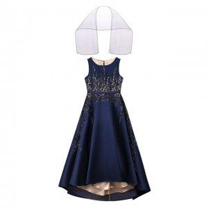 Платье-макси с шарфом Ciao Kids. Цвет: синий
