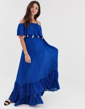 Пляжное платье с открытыми плечами и принтом тай-дай Anmol