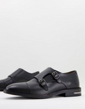 Черные блестящие монки Walk London Oliver-Коричневый цвет