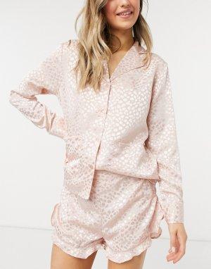 Жаккардовые пижамные шорты румяного розового цвета -Розовый цвет Liquorish