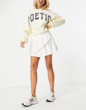 Белая теннисная мини-юбка со складками и асимметричным запахом -Белый ASOS DESIGN