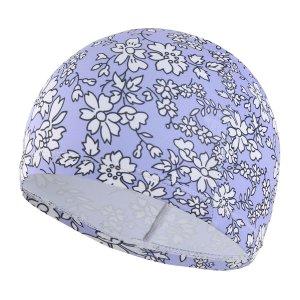 Плавательная шапочка с цветочным принтом для девочек SHEIN. Цвет: пурпурный
