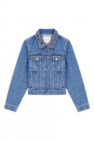 Джинсовая куртка с отделкой кристаллами Maje. Цвет: синий