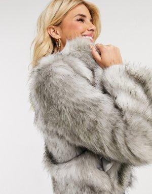 Серое пальто из искусственного меха -Серый Lipsy