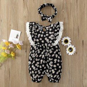 С оборками Ажурная вышивка Со цветочками Принт Комбинезоны для малышей SHEIN. Цвет: чёрный