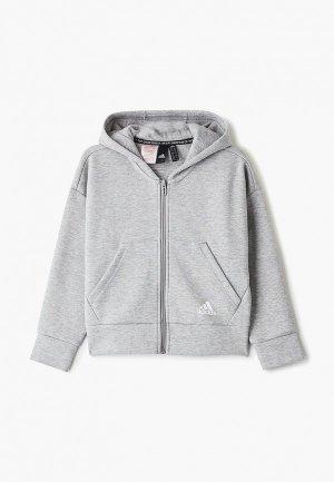 Толстовка adidas YG MH 3S FZ HD. Цвет: серый