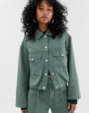 Джинсовая куртка цвета хаки со шнурком Weekday. Цвет: зеленый