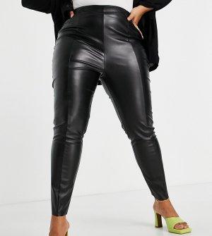 Черные супероблегающие брюки из искусственной кожи ASOS DESIGN Curve-Черный цвет Curve