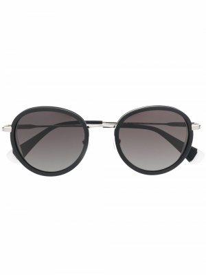 Солнцезащитные очки в круглой оправе GIGI STUDIOS. Цвет: серебристый