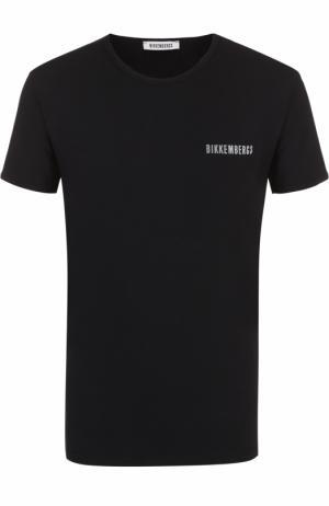 Комплект из двух хлопковых футболок с круглым вырезом Dirk Bikkembergs. Цвет: чёрный
