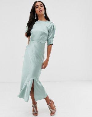 Атласное платье миди с объемными рукавами ASOS DESIGN