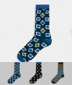 3 пары носков в подарочной упаковке HS By -Кремовый Happy Socks