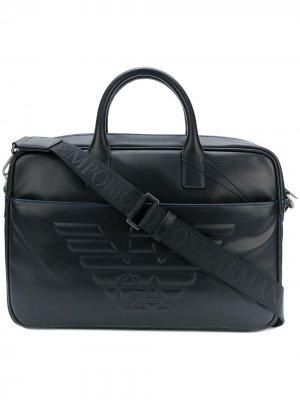 Портфель с тисненым логотипом Emporio Armani. Цвет: черный